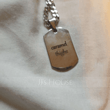 Custom Silver Engraving/Engraved Tag Black And White Photo Necklace - (288234222)