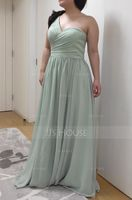 A-Line/Princess One-Shoulder Floor-Length Chiffon Bridesmaid Dress With Ruffle (266176960)