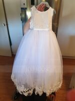 Ball-Gown/Princess Ankle-length Flower Girl Dress - Satin Tulle Lace Sleeveless Scoop Neck (269257257)