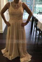 A-Line/Princess Sweetheart Floor-Length Chiffon Lace Prom Dresses With Split Front (018157158)