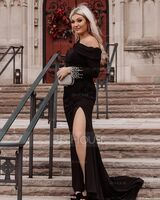 Sheath/Column One-Shoulder Sweep Train Jersey Evening Dress With Beading (017235889)