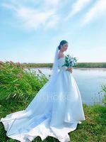 Ball-Gown/Princess Off-the-Shoulder Court Train Satin Wedding Dress (002187041)