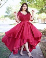 Ball-Gown/Princess V-neck Asymmetrical Satin Prom Dresses With Lace Beading Sequins (018220271)