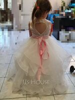 Ball-Gown/Princess Floor-length Flower Girl Dress - Satin/Tulle/Lace Sleeveless Scoop Neck With Bow(s) (Detachable sash) (010225307)