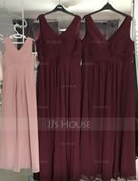 A-Line V-neck Floor-Length Chiffon Junior Bridesmaid Dress With Ruffle (009119579)