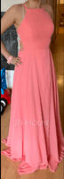 A-Line Scoop Neck Floor-Length Chiffon Bridesmaid Dress With Split Front (007230683)