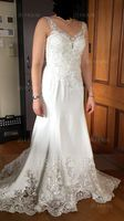 Trumpet/Mermaid V-neck Court Train Lace Stretch Crepe Wedding Dress With Sequins (002127274)