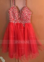 Empire Sweetheart Knee-Length Tulle Prom Dresses With Beading Sequins (272217071)