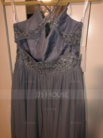 V-neck Floor-Length Chiffon Lace Bridesmaid Dress With Beading Sequins (266236766)