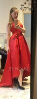 A-Line Scoop Neck Asymmetrical Satin Bridesmaid Dress With Pockets (007206463)