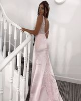 Trumpet/Mermaid V-neck Sweep Train Satin Prom Dresses With Lace Beading (018220232)