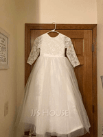 Ball-Gown/Princess Floor-length Flower Girl Dress - Tulle Lace Long Sleeves Scoop Neck With Bow(s) (269258010)