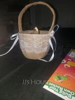 Flower Girl Linen/Lace Flower Basket With Bow/Ribbon (198238516)