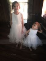 Ball-Gown/Princess Knee-length Flower Girl Dress - Satin Tulle Lace Sleeveless Scoop Neck With Bow(s) (269253054)
