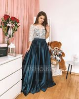 Ball-Gown Scoop Neck Floor-Length Satin Prom Dresses (018138359)