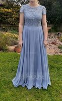 A-Line Scoop Neck Floor-Length Chiffon Lace Evening Dress With Pockets (017221848)