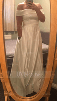 Off-the-Shoulder Floor-Length Satin Bridesmaid Dress With Split Front Pockets (266237286)