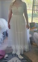 A-Line/Princess Scoop Neck Floor-Length Chiffon Wedding Dress (002108301)