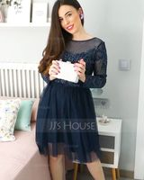A-Line Scoop Neck Short/Mini Tulle Homecoming Dress With Sequins (022203138)