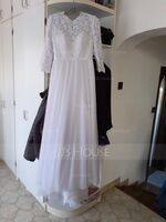 A-Line Scoop Neck Sweep Train Tulle Lace Wedding Dress (002234910)