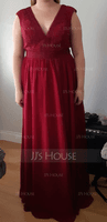 A-Line V-neck Floor-Length Chiffon Lace Bridesmaid Dress (007206461)