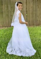 Ball-Gown/Princess Sweep Train Flower Girl Dress - Satin/Lace Sleeveless V-neck With Embroidered (Undetachable sash) (010220956)