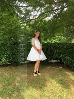 Knee-length Flower Girl Dress - Tulle Lace Short Sleeves Bateau With Beading (269193765)