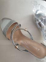 Women's Sparkling Glitter Low Heel Peep Toe Sandals Slingbacks (047165636)