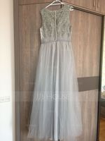 A-Line/Princess V-neck Floor-Length Tulle Lace Bridesmaid Dress With Ruffle (266178987)