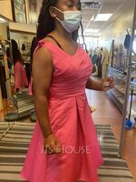 A-Line Off-the-Shoulder Asymmetrical Satin Homecoming Dress (022089750)