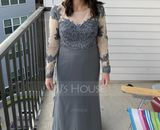 Trumpet/Mermaid Scoop Neck Sweep Train Chiffon Lace Bridesmaid Dress (007190716)