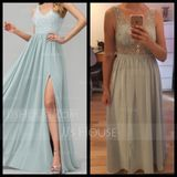 V-neck Floor-Length Chiffon Prom Dresses With Beading Sequins Split Front (272235499)