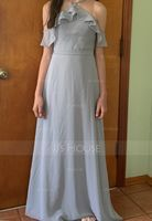 A-Line V-neck Floor-Length Chiffon Bridesmaid Dress With Bow(s) Cascading Ruffles (007153309)