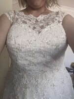 Ball-Gown Scoop Neck Tea-Length Tulle Lace Wedding Dress With Beading Sequins (002054370)