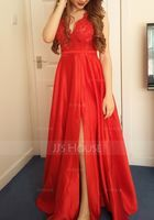 A-Line V-neck Floor-Length Satin Prom Dresses With Lace Sequins Split Front Pockets (018175920)