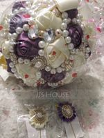 Round Satin Bridal Bouquets (Sold in a single piece) - (123129765)