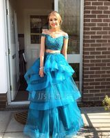 Ball-Gown Off-the-Shoulder Floor-Length Tulle Prom Dresses With Beading (018147837)