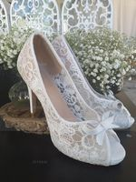 Women's Lace Stiletto Heel Peep Toe Beach Wedding Shoes With Ribbon Tie (273177547)