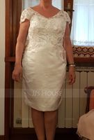 Sheath/Column V-neck Knee-Length Satin Lace Wedding Dress (002235615)
