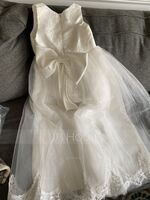 Floor-length Flower Girl Dress - Satin Lace Sleeveless Scoop Neck With Bow(s) (269208630)
