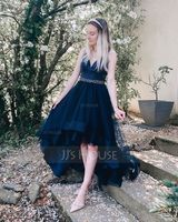 Asymmetrical Tulle Evening Dress (271236395)