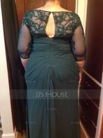 V-neck Floor-Length Chiffon Lace Mother of the Bride Dress With Ruffle Beading Sequins (267236789)