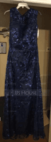 Sheath/Column Scoop Neck Floor-Length Sequined Evening Dress (271253065)