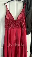 A-Line V-neck Floor-Length Chiffon Prom Dresses With Lace Sequins Split Front (018220262)