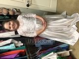 Ball-Gown/Princess Scoop Neck Floor-Length Satin Lace Junior Bridesmaid Dress (009173298)