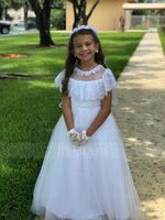 A-Line Floor-length Flower Girl Dress - Tulle/Lace Sleeveless Scoop Neck (010183525)