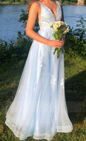 A-Line V-neck Floor-Length Tulle Prom Dresses With Lace Sequins (018175944)