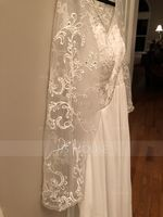 V-neck Floor-Length Chiffon Lace Bridesmaid Dress (266213454)