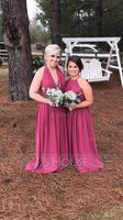 A-Line/Princess Halter Floor-Length Chiffon Bridesmaid Dress With Ruffle (266177047)