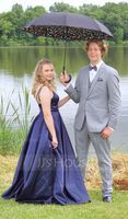 V-neck Floor-Length Satin Prom Dresses (272235406)